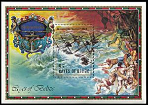 Cayes of Belize 27, MNH, Shipwreck of Battleship Comet souvenir sheet