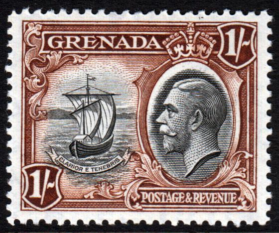 Grenada KGV 1934 1/- 1s Black Brown SG142 Mint Lightly Hinged
