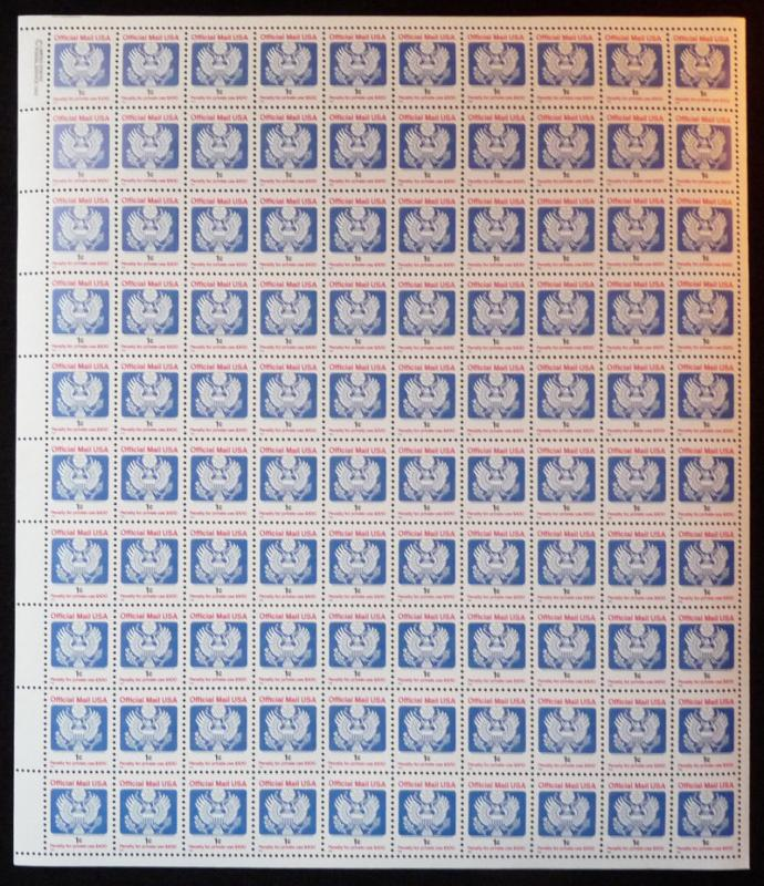 US #O154 FULL SHEET, 1c Official Mail, VF/XF mint never hinged, Post Office F...