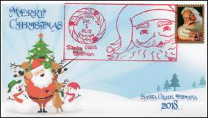 18-340, 2018, Christmas, Pictorial Postmark, Event Cover, Santa Claus IN