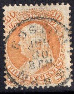 US Stamp #100 30c Franklin F Grill USED SCV $950. Fantastic Cancel Strike.