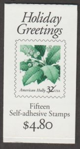 U.S. Scott #3177b-3177d Holly BK264 Holiday Greetings Stamp - Mint NH Booklet