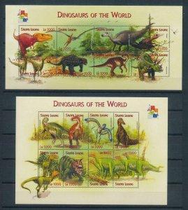 [107181] Sierra Leone 2001 Prehistoric animals dinosaurs 2 Sheets MNH