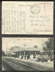 1767- WW1 1916 Field Post FPO E.Y. BEF EGYPT Postcard Suez Train Station. CENSOR