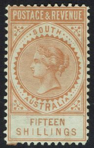 SOUTH AUSTRALIA 1886 QV POSTAGE & REVENUE 15/- PERF 10