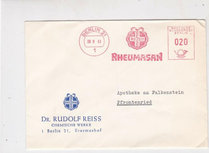 Germany Berlin 1963 Machine Slogan Reiss Rheumasan Cancel Stamps Cover Ref 24306