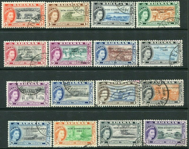 BAHAMAS-1964 New Constitution Set Sg 228-243 FINE USED V35670