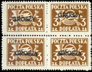 POLOGNE / POLAND 1950 GROSZY O/P T.4 (LUBLIN 1b) MiP127GrA Block of 4 MOGNH **
