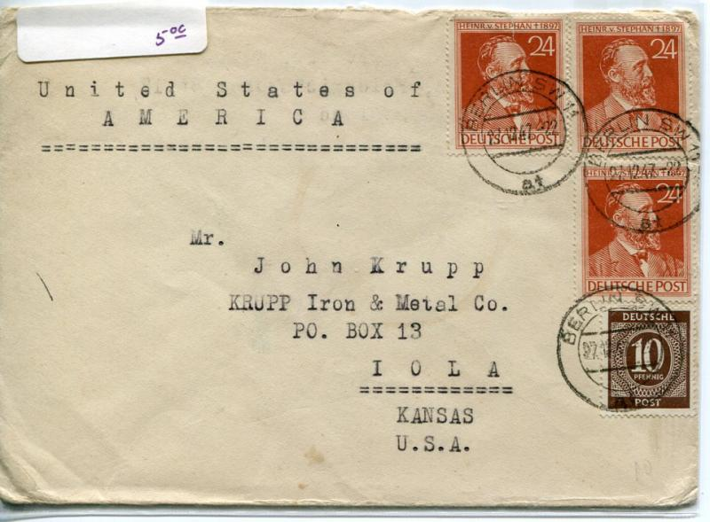 Germany 1947 Cover To Krupp Steel In Iola,KS