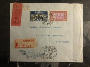 1929 Hanoi Vietnam First Flight Cover to Paris France Costes Bellonte 500 flown