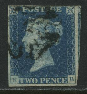 Great Britain 1840 2d Blue Plate 1 KB 4 margins used