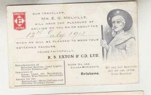 QUEENSLAND, Postal Card PTPO. 1912 1d. Red, R.S. SEXTON & Co. Brisbane to Gympie