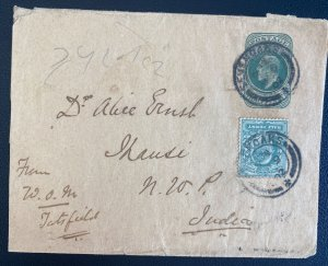 1902 Sevenoaks England Stationery Advertising Wrapper Cover To Jhansi India
