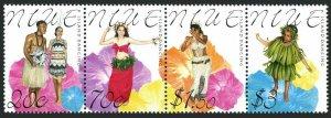 Niue 752 ad strip,MNH.Michel 949-952. Dancers 2000.