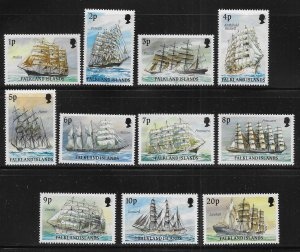 Falkland Islands 485-495 Ships SHORT set MNH c.v. $23.85
