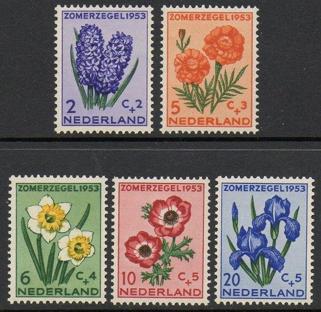 Netherlands 1953 Flowers VF MNH (B249-53)