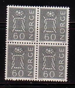 Norway Sc 426 1963 60 ore knot stamp bl of 4  mint NH