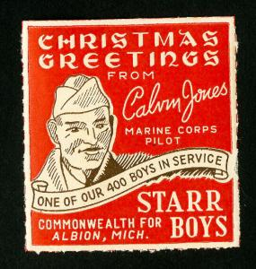 US Stamps 400 Boys In Service Christmas Label