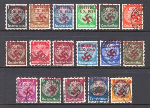 GERMANY 415-431 KARLSBAD RED LOCAL OCCUPATION OVERPRINTS NICE CANCELS