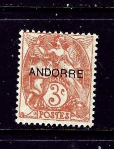French Andorra #3 MH 1931 overprint