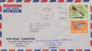Singapore 50c Shama and 25c Two-Spot Gournami 1965 Singapore, M3 Airmail to C...