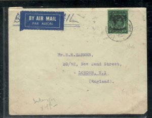 MALAYA BMA  COVER (P0409B)   KGVI 50C  A/M COVER  H.R. HARMER  TO  ENGLAND