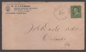 **US 19th Century Cover SC# 279, Tavares, FL 1/27/1899 Grand Keeper of Records