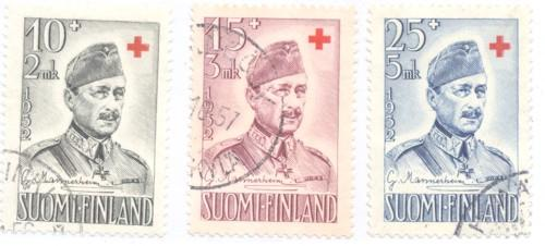 Finland Sc B114-16 1952 Mannerheim Red Cross stamps used