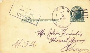 1917, USS Pueblo, CA-7 to Forest Grove, OR, Censored, See Remark (N2898)