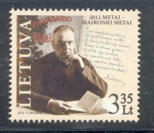 Lithuania Sc 970 2012 Maironis Poet stamp mint NH