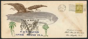 #640 ON U.S.S. MACON COVER OVER MIAMI, FLORIDA APRIL 22,1934 BT8924