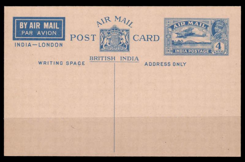 INDIA 1930 AIR MAIL 4 Annas De Havilland Hercules POSTCARD UNUSED   (r10)