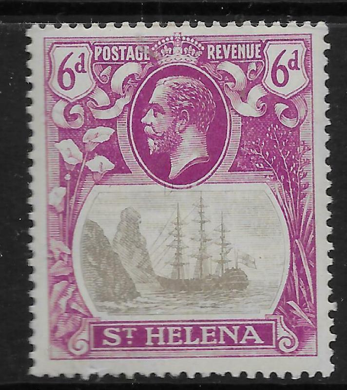 ST.HELENA SG104c 1922 6d GREY & BRIGHT PURPLE CLEFT ROCK VAR MTD MINT