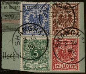 Germany 1896 China 4-Color Vorlaufer Forerunner SHANGHAI 78831