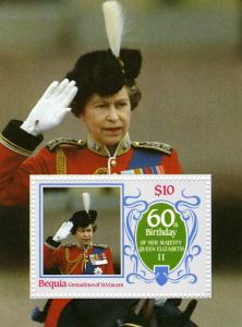 St Vincent Grenadines Bequia Queen Elizabeth 60th Birthday s/s Perforated mnh.vf