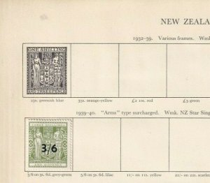 NEW ZEALAND 3/6 ON 3/-6D GREY GREEN 1940 MOUNTED MINT