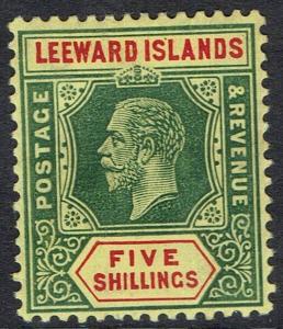 LEEWARD ISLANDS 1912 KGV 5/- ON WHITE BACK WMK MULTI CROWN CA