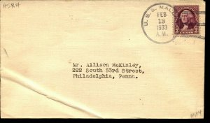 USS MALLARD ASR-4 1933 NAVAL COVER with 3c STAMP F