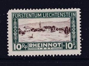 Liechtenstein the 10+10r from the 1928 Flood relief MH