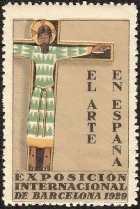 SALE Stamp Label Spain Exposition 1929 Poster Cinderella Barcelona Art Fair MNH
