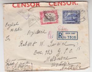 ADEN, 1941 Censored cover,. Aden Camp to Victoria, Australia, Aden Reg. PO Seal