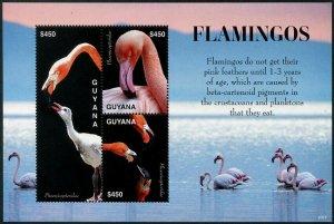HERRICKSTAMP NEW ISSUES GUYANA Flamingos Sheetlet of 3 Different