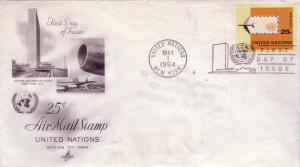 United Nations FDC Sc.# C12 25 Cent Airmail  L284