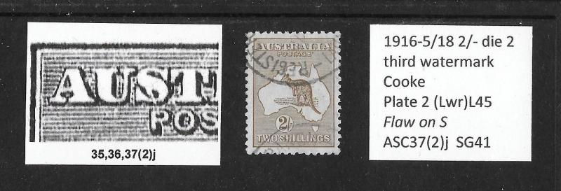 1915 2/- roo 3rd wmk variety: flaw on S of UST plate2 L45 ASC47(2)j
