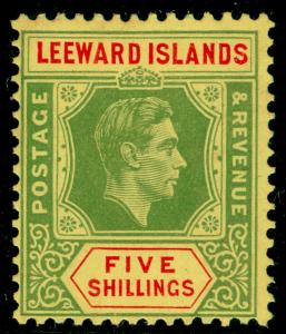 LEEWARD ISLANDS SG112, 5s Green & Red Yellow (Chalky), M MINT. Cat £50.
