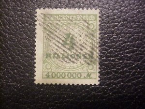RARE CANCEL ON A 4 MILLION MARK GERMAN HYPER INFLATION STAMP