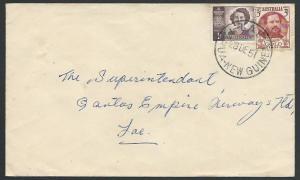 PAPUA NEW GUINEA 1951 cover, Australia franking, LAE cds...................12360