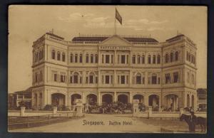 1910 Straits Settlement Singapore Postcard Cover Shanghai China Raffles Hotel