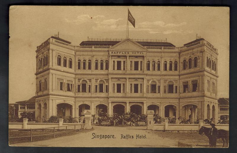 1910 Straits Settlement Singapore Postcard Cover Shanghai China Raffles Hotel