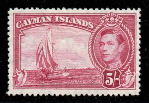 Cayman Islands 1938 KGVI 5/- crimson SG 125a mint CV £75